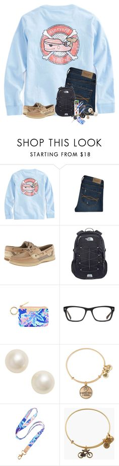 """""""This set is a little messy..."""" by preppyandsouthern17 ❤ liked on Polyvore featuring Abercrombie & Fitch, Sperry, The North Face, Lilly Pulitzer, GlassesUSA, Poppy Finch and Alex and Ani"""