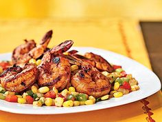 Three-Chile-Dusted Shrimp with Quick Corn Relish | Get zesty Tex-Mex flavor on the table in 20 minutes or less.