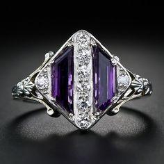 Art Deco Amethyst and Diamond Ring, circa 1930s. Lang Antiques.