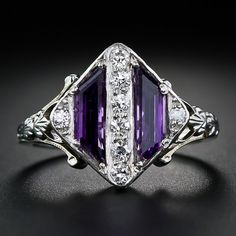 Art Deco Amethyst and Diamond Ring, circa 1930s. Lang Antiques.