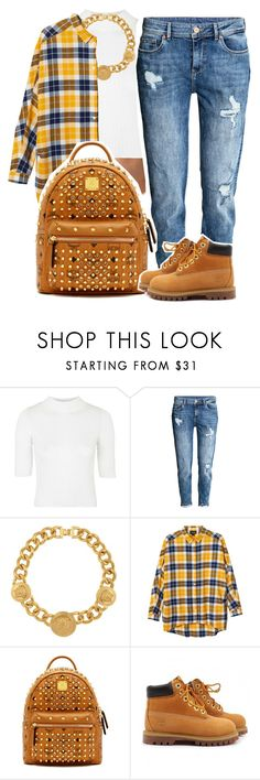 """Sans titre #398"" by lesliekabengele ❤ liked on Polyvore featuring Topshop, Versace, Monki, MCM and Timberland"