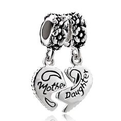 Pugster Mother Daughter 925 Sterling Silver Love Heart Fits For Mom Beads Charms Bracelets Fit All Brands , Fashion Sterling Silver Jewelry Pandora Beads, Pandora Bracelet Charms, Pandora Jewelry, Charm Bracelets, Pandora Pandora, Charm Jewelry, Jewlery, Silver Charms, Silver Beads