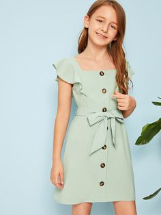 Girls Butterfly Trim Button Up Belted Dress | SHEIN