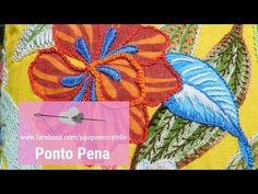 Aula 3 - Passo a passo Ponto Creta sendo aplicado com o ponto corrente, corrente torcido - YouTube Hand Embroidery Tutorial, Embroidery Stitches, Couture, Handmade Crafts, Fiber Art, Embellishments, Weaving, Christmas Ornaments, Knitting