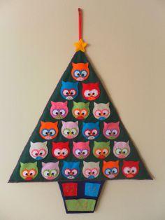 Owl Christmas Tree Advent Calendar by HollyGoBrightly on Etsy
