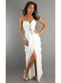 Novelty Asymmetry Hem Long White Prom Formal Dress Gowns Dresses