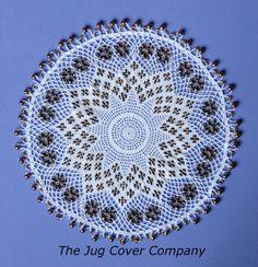 Beaded jug cover OTTOMAN GOLD by TheJugCoverCompany on Etsy, £65.00 Doilies Crochet, Beaded Crochet, Filet Crochet, Crochet Crafts, Crochet Earrings, Cup Cakes, Bobs, Beading, Ottoman