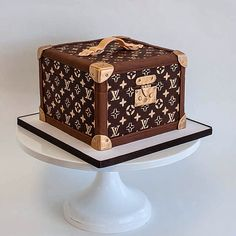Louis Vuitton Hat Box Luggage Suitcase Sculpted Cake by Fluffy Thoughts Cakes