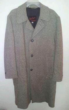#FathersDay John Weitz Wool Herringbone Top Coat Trench Casualcraft Tweed Tan Men 42 Regular #JohnWeitz #Peacoat