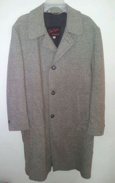 #FathersDay John Weitz Wool Herringbone Top Coat Trench Casualcraft Tweed Tan Men 42 Regular #JohnWeitz #Peacoat