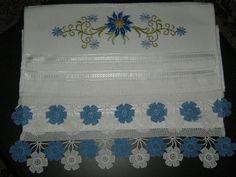 İki renkli dantel havlu kenarı