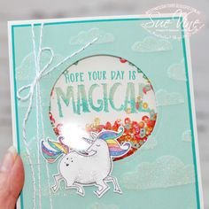 Miss Pinks Craft Spot featuring Stampin' Up! products by Sue Vine, Adelaide South Australia Unicorn Birthday Cards, Girl Birthday Cards, Handmade Birthday Cards, Unicorn Cards, Kids Cards, Baby Cards, Pink Crafts, Slider Cards, Magic Cards