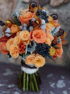 apricot rose, peach celosia, blueblack viburnum tinus berry handtied bouquet design, http://twistedwillowweddings.com