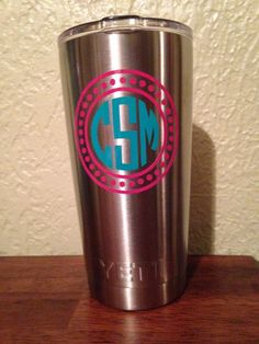 Yeti's are so popular right now! Make yours unique by putting a custom monogram on it! Please indicate color combo and monogram choice in the notes section. Monogram Cups, Monogram Gifts, Drinking Buddies, Yeti Cup, Silhouette Cameo Projects, Vinyl Projects, Monograms, Cricut Design, Vinyl Decals