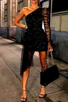 Glitter One Shoulder Sheer Mesh Ruched Long Sleeve Bodycon Dress Women Dress – fashion Elegant Dresses, Pretty Dresses, Stunning Dresses, Short Dresses, Prom Dresses, Bridesmaid Dresses, Sexy Dresses, Midi Dresses, Floral Dresses