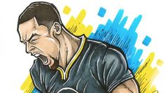The pure passion of Golden State Warriors guard Stephen Curry captured by artist Brian Bowens.