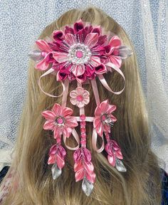 Handcrafted floral barrette by KanzashiAccessories on Etsy