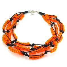 Ręcznie plecione korale na czarnym sznurku bawełnianym zkoralików akrylowych w kolorze pomarańczowym. Zakończenie z karabińczykiemi oczkami do regulacji. Bracelets, Jewelry, Fashion, Moda, Jewlery, Jewerly, Fashion Styles, Schmuck, Jewels