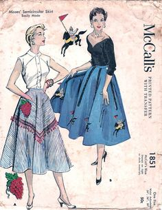 McCall's 1851 ©1954 Semicircular Skirt with knight & horse or grape bunch applique