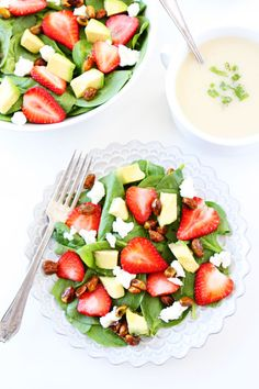 Strawberry Spinach Salad with Avocado, Goat Cheese, and Candied Pistachios Recipe on twopeasandtheirpod.com My favorite spring salad! It is great for lunch or dinner!