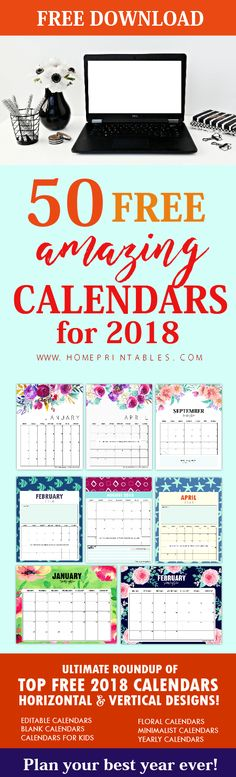 Here's a brilliant roundup of the top 50 FREE printable calendar 2018! Download the 2018 calendar to use now!  #calendar #2018 #printables #planner #calendar2018