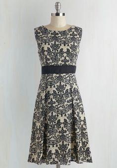Courtship Shape Dress - Mid-length, Woven, Tan / Cream, Floral, Print, Work, A-line, Sleeveless, Black