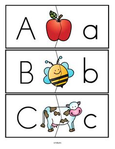 Alphabet upper and lower case letters puzzle match-ups, full alphabet.