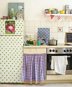 Retro Kühlschrank Selber Dekorieren Punkte Grün Vintage Küche
