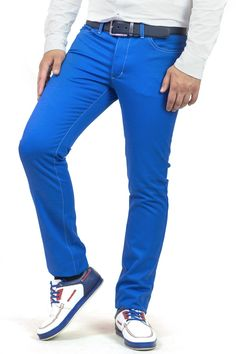 7f6a2d57efc307 Чоловічі #штани насиченого синього кольору MAKSYMIV H-016-2 виготовлені з  якісної тканини