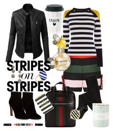 """""""Stripey Mood"""" by pinkbikegurl on Polyvore featuring LE3NO, Ted Baker, Karen Millen, Joanna Laura Constantine, Gucci, Kate Spade, Gianvito Rossi, Miss Étoile, Marc Jacobs and Forever 21"""