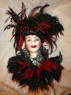 Mask Lady Ethnic Ceramic Wall Hanging Black Burgundy Feathers Lace Jewelry EUC