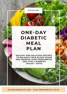 Wondering what to eat to balance your blood sugar and improve your prediabetes / type 2 diabetes? This one-day meal plan will give you great examples of recipes that are delicious, keep you full between meals, and that won't raise your blood sugar like cr Diabetic Meal Plan, Diabetic Recipes, Diet Recipes, Easy Diabetic Meals, Diabetic Cookbook, Diabetic Foods, Gestational Diabetes, Diabetes Diet, Meal Planning