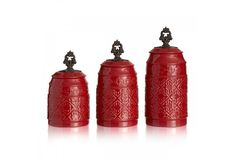 Anila Ceramic 3 Piece Canister Set in Red by American Atelier #AmericanAtelier