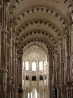 Many of Europe's large medieval churches took decades to build: Basilique Sainte-Marie-Madeleine de Vézelay in Burgundy, France – begun 1104 and completed 1165 -- has a Romanesque nave and a later Gothic choir and represents the crossover of both styles.
