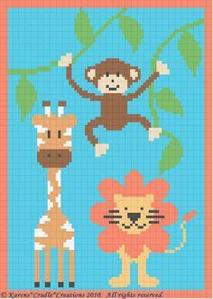 Crochet Patterns - SAFARI ANIMALS BABY AFGHAN PATTERN