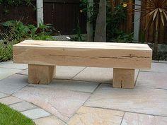 Solid Oak 2 Beam Garden Bench