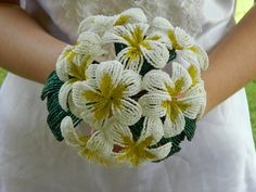White and Yellow Plumeria French Beaded Flower by BeadedFleur, $125.00