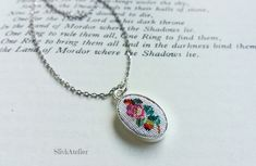 Silver necklace with embroidered pendant Ag 925, floral pendant, roses necklace, needlepoint jewelry, petit point jewelry, oval pendant by SlivkAtelier on Etsy