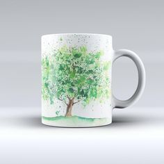 The Splattered Watercolor Tree of Life ink-Fuzed Ceramic Coffee Mug from DesignSkinz