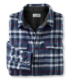 """Men's Fleece-Lined Flannel Shirt, Traditional Fit in """"Mariner Blue"""" from L. I like this colour so much better than the women's options! Blue Flannel Outfit, Blue Flannel Shirt, Flannel Shirts, Flannels, Fleece Lined Flannel Shirt, Mens Fleece, Picnic Outfits, Men's Shirts And Tops, My Guy"""