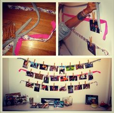 Easy DIY picture close line project. This is easy and creative wall art!
