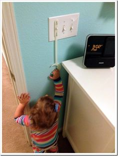 Awesome way to teach a toddler how to turn on and off a light