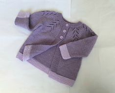 Knitted merino wool cardigan for girl to about 12 months, handknit purple & lilac sweater, baby cardigan with lace, handmade girls knitwear