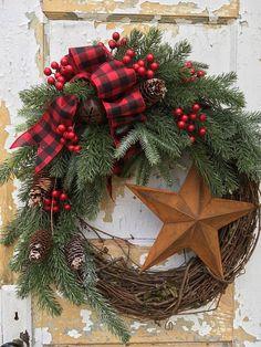 Rustic Christmas Wreath for Front Door Rustic Star Wreath