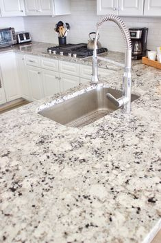 Alaskan White aka Colonial White granite - cheaper than quartz Alaskan White Granite, Thunder White Granite, River White Granite, White Granite Kitchen, White Granite Countertops, Quartz Kitchen Countertops, Granite Tops, Black Granite, Kitchen Counter Design