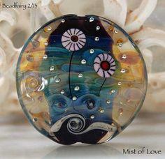 Mist of Love handmade lampwork bead large lentil focal , glass bead by  Beadfairy Lampwork Ooak SRA. $34.90, via Etsy.