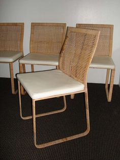 Rare Harvey Probber Woven Rattan Dining Chairs image 3