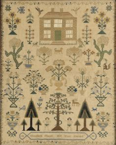 Elizabeth Church ~ 1838 ~ An early Victorian needlework sampler,with traditional designs of a house, flowering shrubs, insects, animals and birds, Adam and Eve, enclosed in a floral meander border