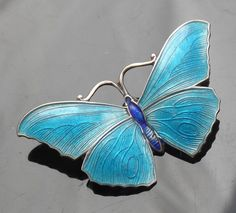 exquisite art nouveau silver enamel butterfly brooch by j atkins & sons…