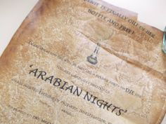 My Murder Mystery party invitation- ARABIAN NIGHTS. Aged paper by using coffee.